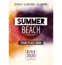 Summer beach party flyer template design Summer vector