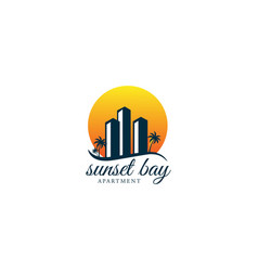 sunset beach tower building apartment real estate vector image