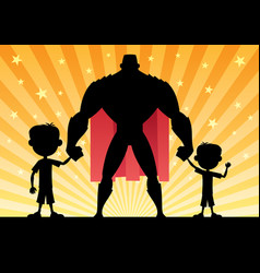 super dad with 2 sons vector image