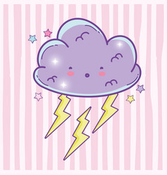 surprised fluffy cloud with thunder and stars vector image