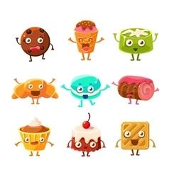 Sweet Dessert Pastry Childish Cartoon Characters vector image