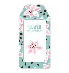 Tag with pink lilies flower pattern vector