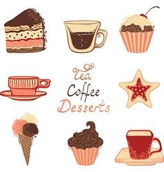 Tea coffee and dessert icons vector