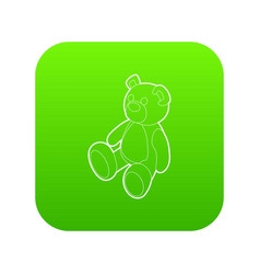 teddy bear icon green vector image