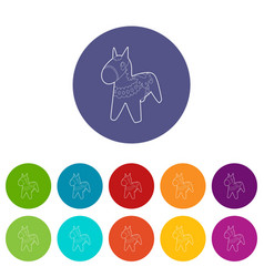 toy horse icon outline style vector image