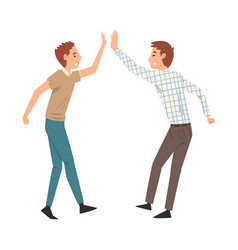two men giving high five to each other meeting of vector image