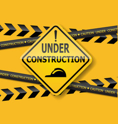 under construction sign label background vector image