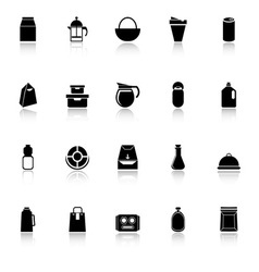 Variety food package icons with reflect on white vector