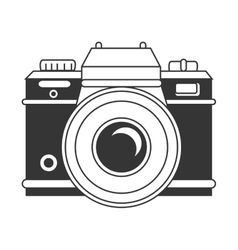 Vintage photographic camera in black and white vector