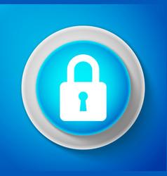 white lock icon isolated on blue background vector image