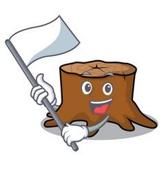 with flag tree stump mascot cartoon vector image