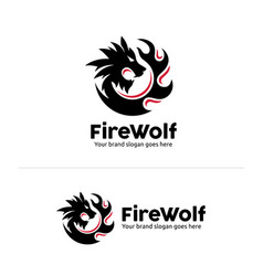 Wolf fire identity wolf head in circle fire shape vector