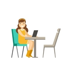 Woman Sitting At Her Desk With Lap Top Coworking vector