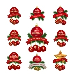 xmas theme logos set vector image