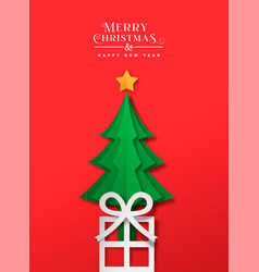 year paper cut gift pine tree card vector image