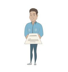 Young hispanic businessman holding a contract vector