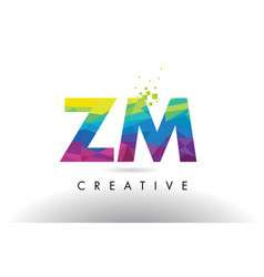 Zm z m colorful letter origami triangles design vector