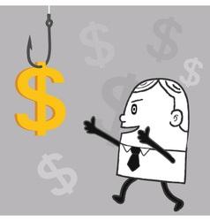Business Man Fishing Dollar vector image vector image