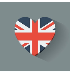 Heart-shaped icon with flag of the UK vector image vector image