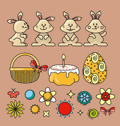 set easter icons on beig vector image