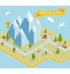 Travel banner Paradise island isometric flat map vector image