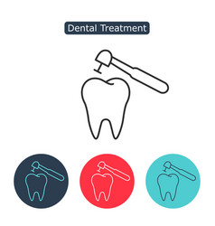 treatment of tooth icon vector image vector image