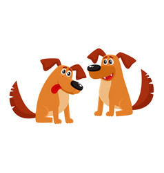 two funny brown dog characters sitting friendly vector image
