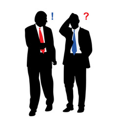 two stressed worried businessmen with problems vector image vector image