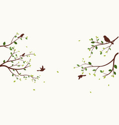 beautiful tree with birds vector image
