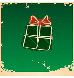 Christmas Vintage Gift Box vector image