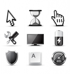 computer icons bw series vector image vector image