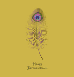 Dahi handi krishna janmashthami card with a peacoc vector