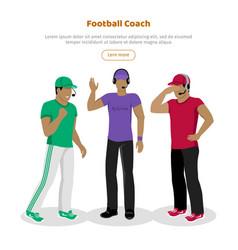 football coaches web banner cartoon soccer referee vector image vector image