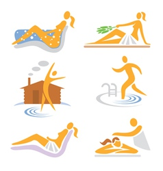 Spa wellness sauna icons vector image vector image