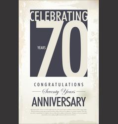 70 years anniversary retro background vector image vector image