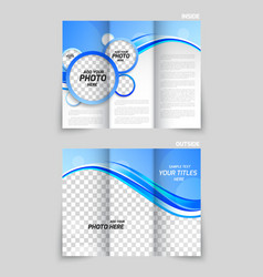 Blue tri-fold brochure vector image vector image