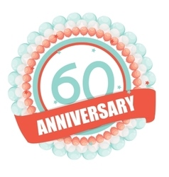 Cute Template 60 Years Anniversary with Balloons vector image