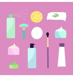 Elements for girls face wash makeup tools vector