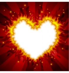 fiery heart card vector image vector image