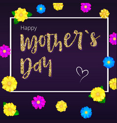 happy mother day greeting banner gold glitter vector image