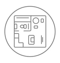 House interior with furniture line icon vector image vector image