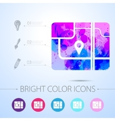 map icon with infographic elements vector image