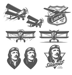 Set of vintage aircraft design elements vector image vector image