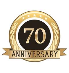 Seventy Year Anniversary Badge vector image vector image