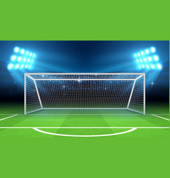Sports stadium with soccer goal vector