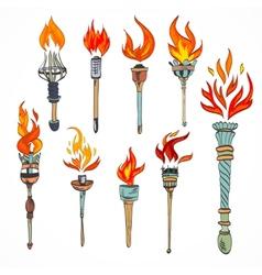 Torch icon sketch vector image vector image