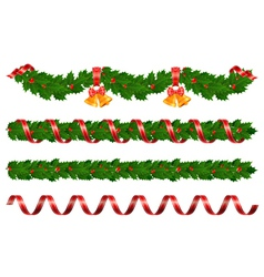 christmas holly garland vector image vector image