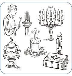 Easter cakes and bible - vector image