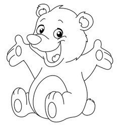 outlined happy teddy bear vector image vector image