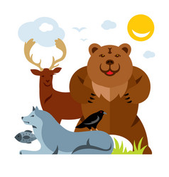 set of different wild animals flat style vector image